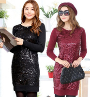 XL~4XL!! New 2014 Spring Autumn Ladies Sexy Fashion Plus Size XXXXL Wool Sequined Long-sleeve Slim Sheath Brand Short Dresses