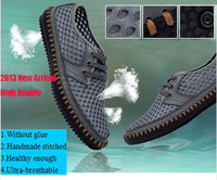 Free Shipping New Popular Fashion Men Sandals Air Mesh+Genuine Leather Summer Shoes Breathable Handmade Outdoor Casual Sneakers