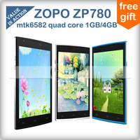 Original ZOPO ZP780 MTK6582 Quad Core Cell Phones Android 4.2 5.0inch full hd screen 1GB RAM 4GB ROM 5MP Camera 3G/GPS/OTG