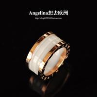 FREE SHIPPING~New Jewelry Korean Style 18k Rose Gold Plated Beautiful Elegant&Classic White/Black Ceramics Ring