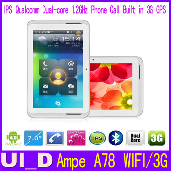 7 inch Ampe A78 3G Version Qualcomm MSM8625 Dual core +GPS+Bluetooth+3G phone Call IPS Screen