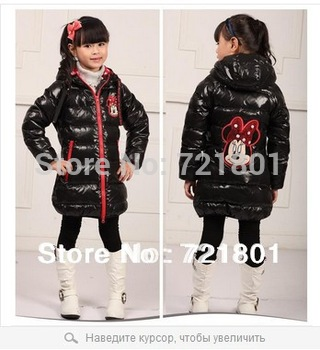 12 colors 2013 girls winter 3 models  long section of thick white duck down Mickey cartoon children Down jacket  free shipping
