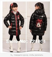 2014 girls winter Children Down girls long section of thick white duck down Mickey cartoon children Down jacket  free shipping