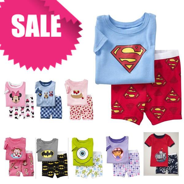 PST1, Baby Children pajamas, 100% Cotton short sleeve T shirt + pant, Children pajamas/sleepwear/clothing sets for 2-7 year.(China (Mainland))