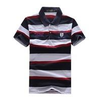 New 2014 autumn-summer brand t shirt men Designer cotton stripe t shirt men's casual shirt slim fit blusas