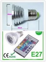 DHL FEDEX Free Shipping 3W 4W E27 RGB LED Bulb 16 Color Change Lamp spotlight 110-245v for Home Party decoration with IR Remote