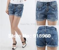 New big Size short jeans Women's Shorts/Fashion Ladies' Short pants/4XL~6XL Waist 88~93cm large size 4 pockets Cuffs design/Wtl