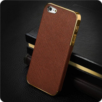2013 new arrival luxury leather electroplate aluminum fashion cover for i phone 5 cases for apple iphone 5