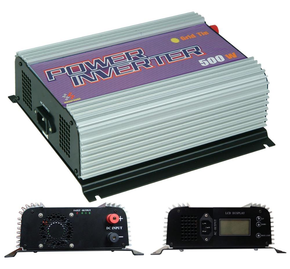 Free shipping,500W Grid Tie Inverter,power inverter,solar inverter (SUN-500G-LCD),LCD Panel,MPPT Function,(China (Mainland))