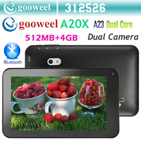 Gooweel A20X 7inch tablet pc Allwinner A20 Dual Core 5 point capacitive Screen android 4.2 512MB 4GB Dual camera WiFi HDMI OTG