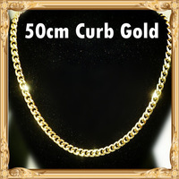 One Piece OK 18k Gold Plated Chunky Chain Cuban Curb Chain Metal 20inch 50cm 7mm Gold Filled Necklace GF Woman Man