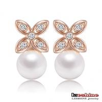 LZESHINE Brand Wedding Pearl Earring Rose Gold /Platinum Plated SWA Elements Austrian Crystals Pearl Flower Earrings ER0221