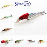 Sougayilang 2015 New ! 8Pcs Fishing Spoons Minnow Crank baits Bass Fishing Lures With Treble Hook Fishing Tackle Fishing Lure