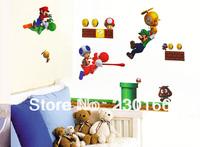 Free Shipping Super Mario Cartoon Wall Stickers for Kids Room Vinyl Wall Decal Art DIY Home Decor Stickers 45x60cm E2014051