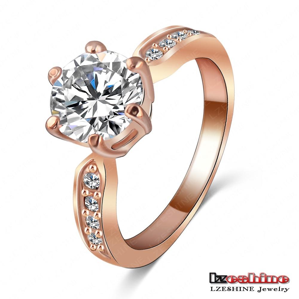 LZESHINE Brand Wedding Jewelry Ring18K Rose Gold /Platinum Plate Round Cubic Zirconia Women Finger Rings Wholesale Ri-HQ1053(China (Mainland))