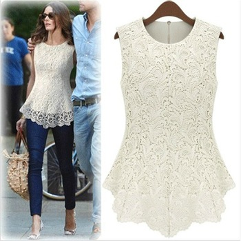 Hot sale Summer 2014 Fashion Casual Women Lined 100% Cotton Lace Sleeveless Dresses White Black Sexy Vest Blouse Free Shipping