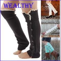 BIG DISCOUNT knitted leg warmers for women Button Down Boot Cuffs lace trim gaiters Boot Socks Crochet Leg Warmers 7 colors