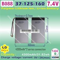 "[B088] 7.4V,4300mAH,[37125160] Polymer lithium ion battery (LG) for 10.1"" CUBE  U30GT 1 / 2 QUAD CORE;U30GT DUAL CORE TABLET PC"