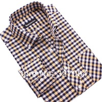 Free shipping Famous brand Men Plaid Shirt casual slim fit men's long-sleeved shirts,High quality 4XL