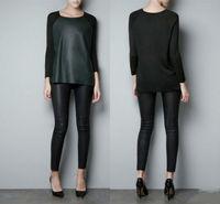Womens PU Leather Knit Splice Round collar Sweater knitwear shirt tops T-shirt