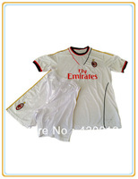 13 14 AC Milan White Away Soccer Uniforms Jersey+Shorts Football Clothing Pants For Trianing Accept Customized