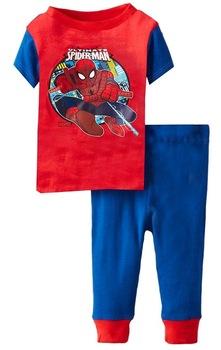 Good Quality Children's Short Sleeves Cartoon SPIDER-MAN Pajamas Boy's Summer Nightwear Sets, 6 Sizes/lot - GPA266