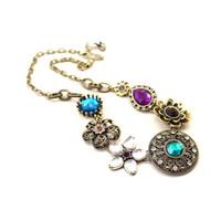 New Vintage Jewelry Trendy Flower Charm Costume Acrylic Alloy Ladies Necklaces