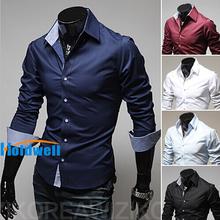 2014 men's fashion shirt men solid color shirts Autumn Spring men's shirt long-sleeved Casual Shirts men 5 color plus size 4XL(China (Mainland))