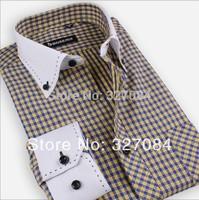New 2015 White Collar High Quality Fashion Classic Plaid Shirt dress shirt Slim Long Sleeve cotton size xxxl Free shipping GZ01
