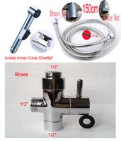 "ducha Toilet bidet spray shower set including ABS shattaf spray + 1.5m shower hose +1/2"" brass diverter free shipping"