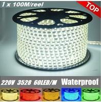 100M(meter) Waterproof 60LED/m 220V 230V 240V 3528 LED Strip light Flexible Ribbon LED Red blue yellow green white warm RGB+plug
