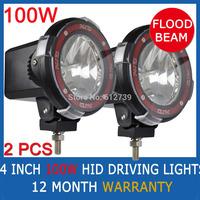 "2pcs 100W 4"" inch HID XENON FLOOD Euro BEAM OFF ROAD SPOTLIGHTS 12V driving lights 4x4 flood beam"