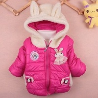 New 2013 autumn baby kids girls rabbit clothing reima Quilted Down jacket child girl clothes coat Children's winter outerwear