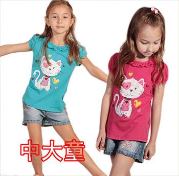 2014 summer children clothes girls cartoon animal cat cotton short sleeve t-shirt  t shirts 4T-14