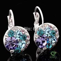 Wholesale fashion jewelry dangle 18k white gold plated silver multi color Austrian crystal rhinestone Stud Earrings