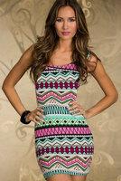 Hot sale women summer sundress 2014 vestido estampado Fancy Form-fitting Stretch Mini Dress with Bohemia Ethnic-print dresses