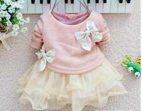 Retail new 2013 children clothing new born baby girls dresses for autumn -summer lace princess long-sleeved tutu dress for 6-24M