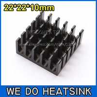 FREE Shipping 10pcs 22x22x10mm High Power Radiator Heat Sink Black Anodized For CPU and Metal Ceramic BGA Packages and PC