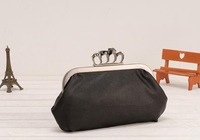 2013 vintage Skull purse,Black Skull Knuckle Rings Handbag Clutch Evening Bag With shoulder Chain Perfect free shopping