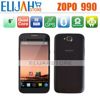 Free Shipping ZOPO ZP990 MTK6589T Quad Core 3G Mobile Phone 6.0''FHD 1920*1080 Android 4.1 2G Ram 32GB 13MP Camera Dual SIM GPS
