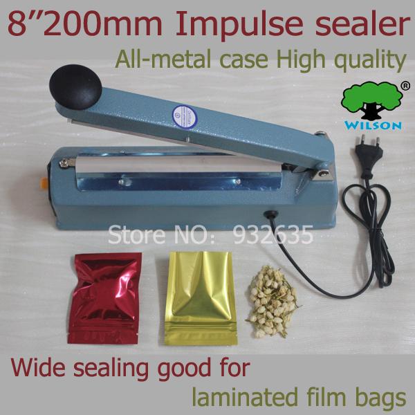 "Good quality all-matel 8"" hand Impulse Sealer 8mm wide sealing wide Heat Sealing Machine Heat Sealing Plastic Bag Closer Sealer(China (Mainland))"