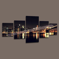 Home Decor Canvas 5 Panel Canvasl Art of Night View Wall Decorative Painting Modern Canvas Picture for Living Room Canvas Prints
