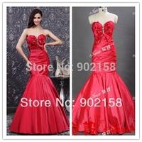 Stunning Sweetheart Neckline Appliqued Red Taffeta Mermaid Evening Dresses 2013