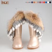 Real sheepskin leather women snow boots nature fox fur lined fringed tassel wool lined winter shoe waterproof wholesale discount