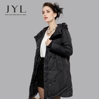 JYL 2014 Winter woman black large turndown collar designer women's winter coats,double layer design hem long winter coat parka