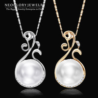 Neoglory Rhinestone Simulated Pearl Pendant Necklaces Charm Women Jewelry Brand Fashion Jewellery Accessories 2014 New Arrival