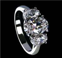 Luxury  Jewelry 2.51 CT Three Stone SONA synthetic diamond ring sterling silver wedding rings for women promise engagement rings
