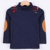 2014 Free Shipping spring plaid preppy style boys clothing baby basic turtleneck shirt K2701