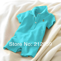 Baby bodysuits summer and autumn clothing 100% cotton  polo turn-down collar short-sleeve baby fashion jumpsuits