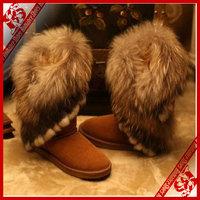 FREE SHIPPING 2014 high-leg boots snow boots rabbit fur fox fur women's shoes pendant boots medium-leg boots